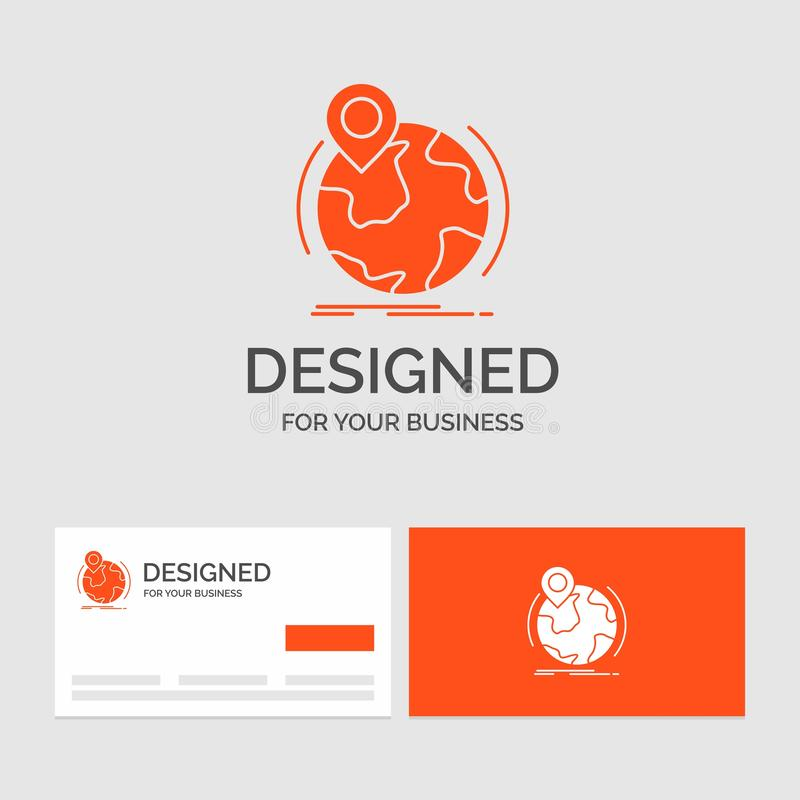 Business logo template for location, globe, worldwide, pin, marker. Orange Visiting Cards with Brand logo template. Vector EPS10 Abstract Template background vector illustration