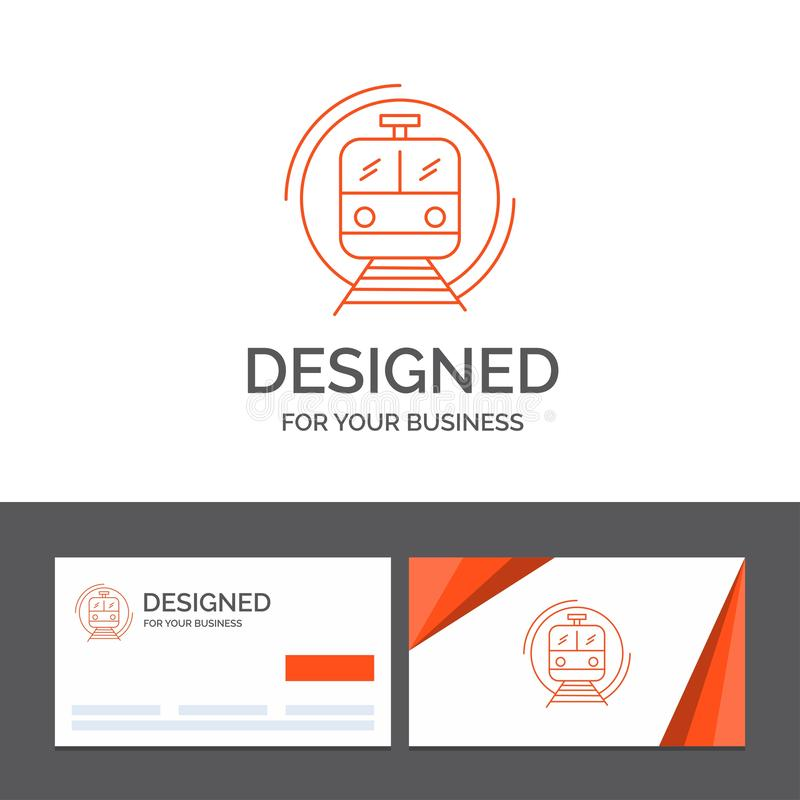 Business logo template for metro, train, smart, public, transport. Orange Visiting Cards with Brand logo template stock illustration