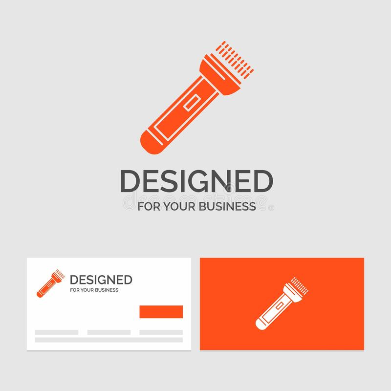 Business logo template for torch, light, flash, camping, hiking. Orange Visiting Cards with Brand logo template. Vector EPS10 Abstract Template background royalty free illustration