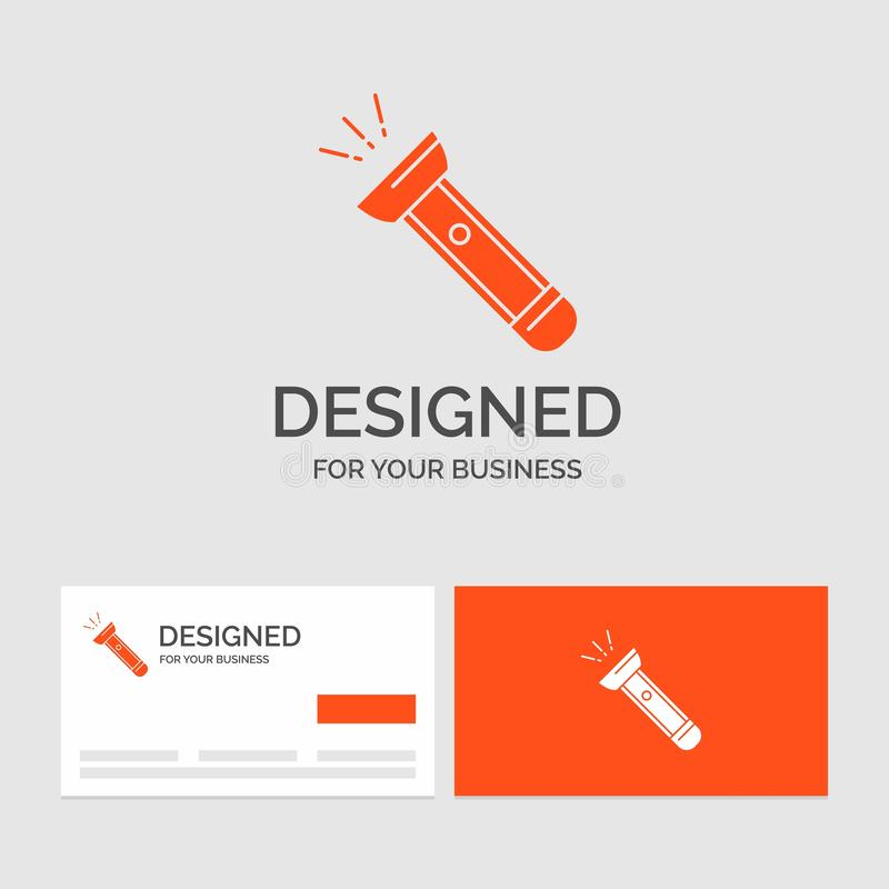 Business logo template for torch, light, flash, camping, hiking. Orange Visiting Cards with Brand logo template. Vector EPS10 Abstract Template background vector illustration