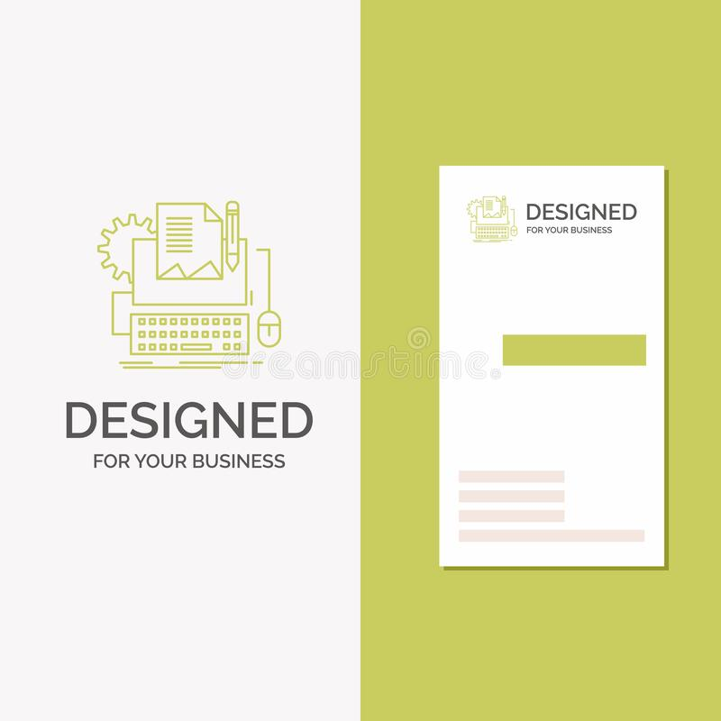 Business Logo for Type Writer, paper, computer, paper, keyboard. Vertical Green Business / Visiting Card template. Creative vector illustration