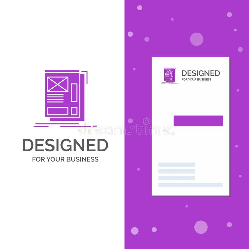 Business Logo for wire, framing, Web, Layout, Development. Vertical Purple Business / Visiting Card template. Creative background royalty free illustration