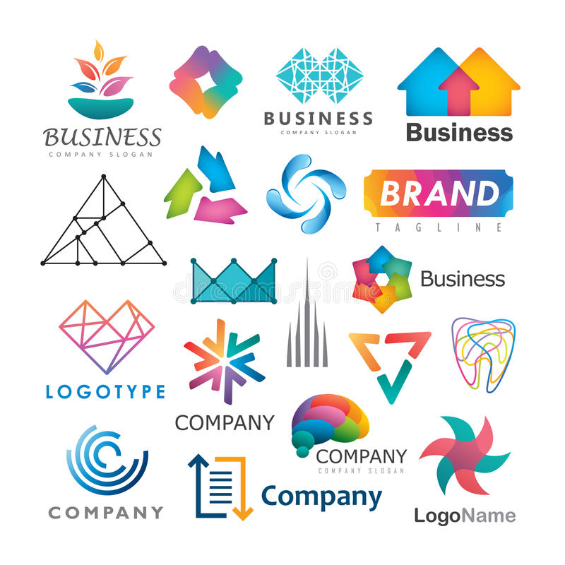 Business logos. Illustration of different business logos on a white background royalty free illustration