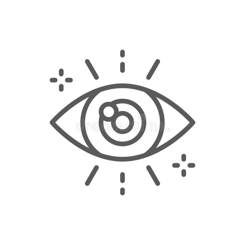 Business look, attentive eye line icon. Vector business look, attentive eye line icon. Symbol and sign illustration design. Isolated on white background stock illustration