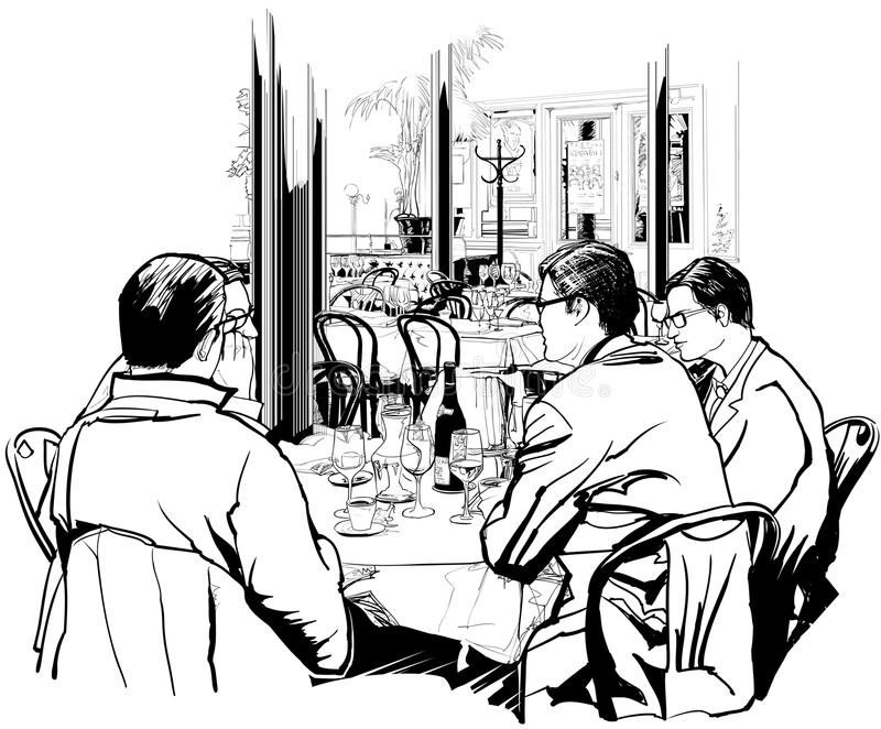 Business lunch royalty free illustration