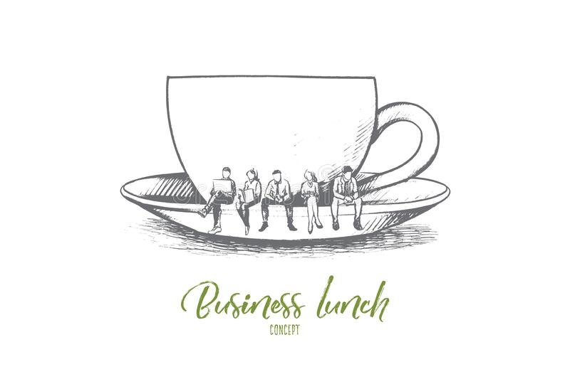 Business lunch concept. Hand drawn isolated vector. vector illustration