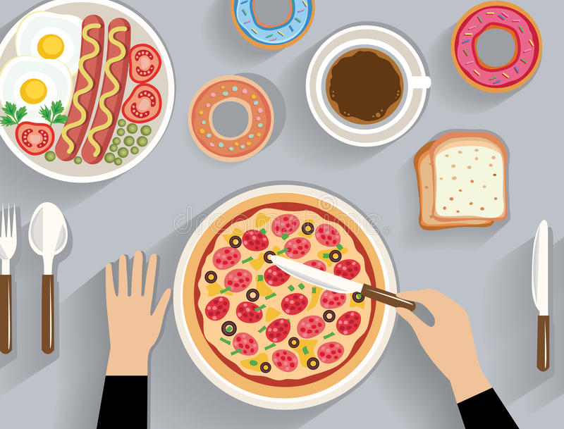 Business lunch, dinner table - top view stock illustration