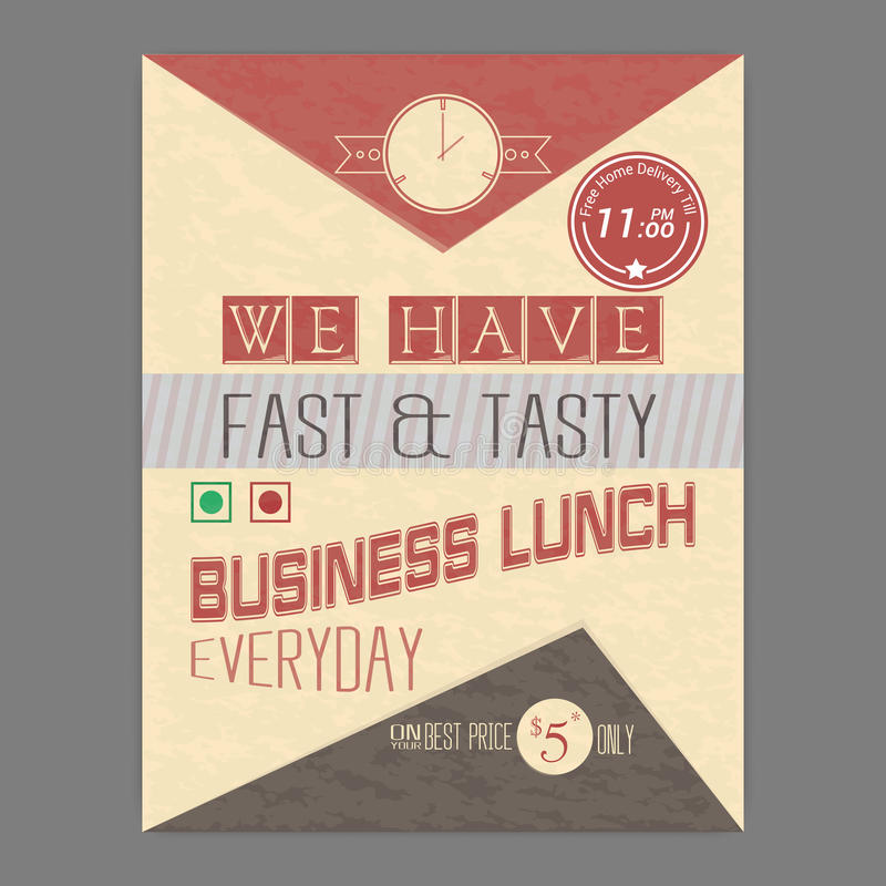 Business Lunch Flyer Or Template Design Stock Illustration