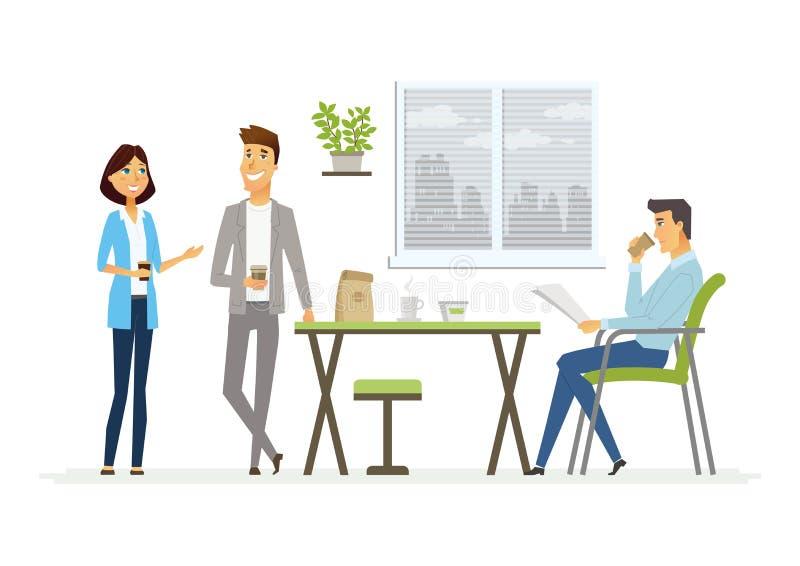 Business-Lunch - moderne Vektorzeichentrickfilm-figur-Illustration lizenzfreie abbildung