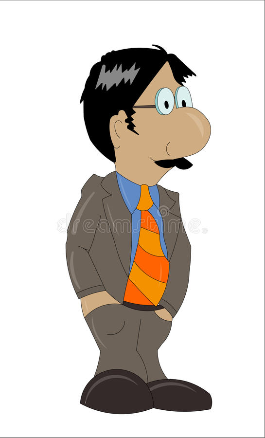 Business man. Illustration of a business man in cartoon style, isolated on white stock illustration