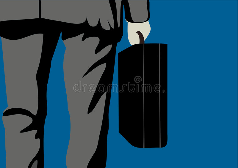Business man. A close up view of a business man carrying a briefcase stock illustration