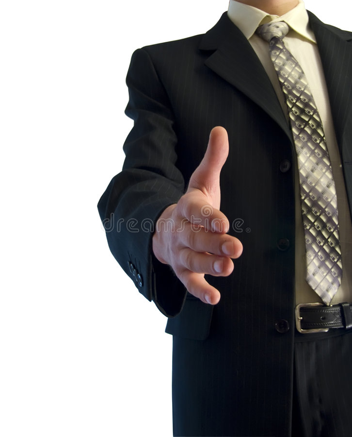 A business man. With an open hand ready to seal a deal stock image