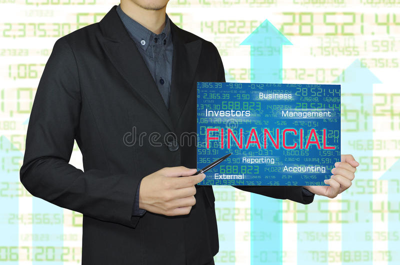 Business man with accounting and financial concept. stock photography