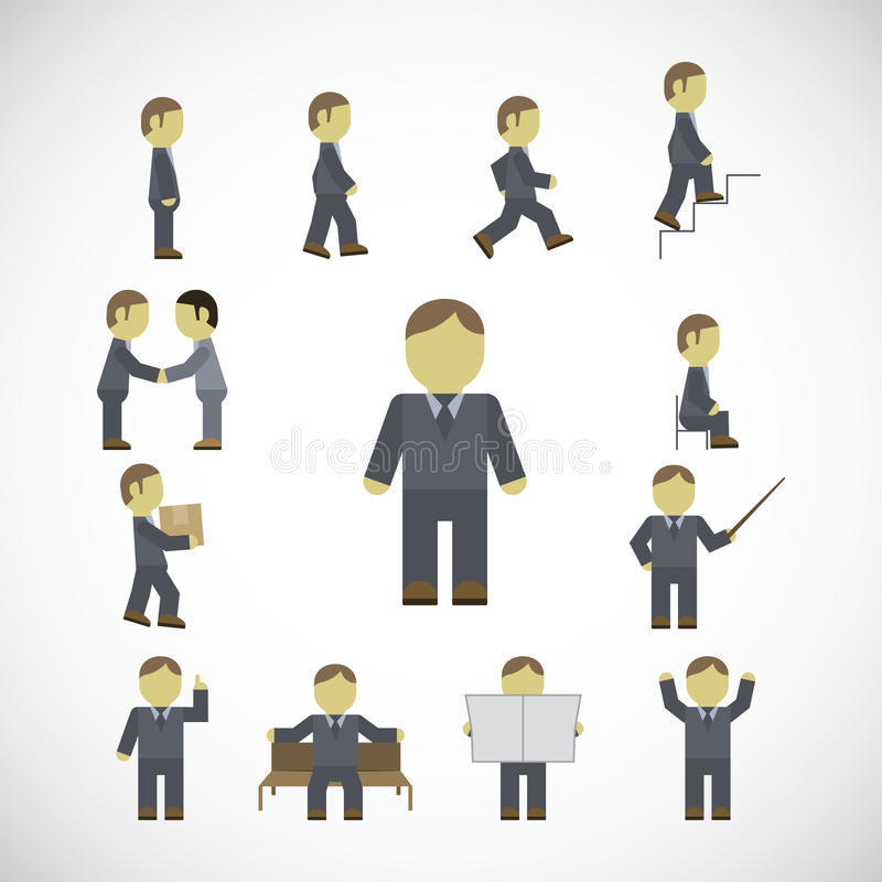 Business man activities icons set vector illustration