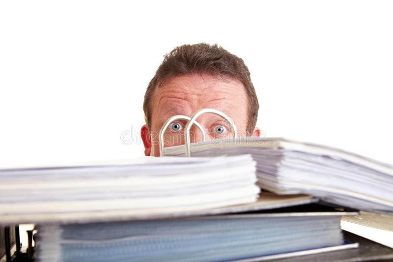 Business man afraid of tax audit stock images