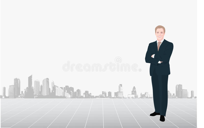 Download Business Man Against Of Downtown Stock Vector - Illustration: 13354257