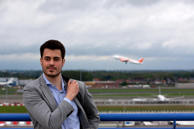 Business man airport plane stock photos
