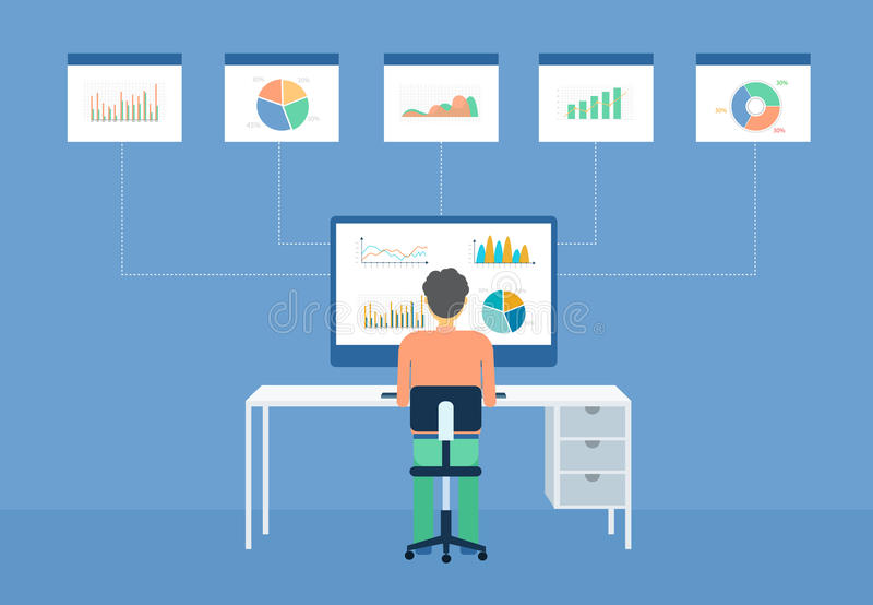 Business man analytic on graph monitor royalty free illustration