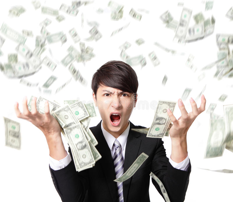 Business man anger shouting with money rain royalty free stock photos