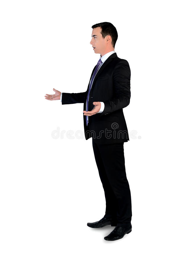 Business man arguing. Isolated young business man arguing royalty free stock photos