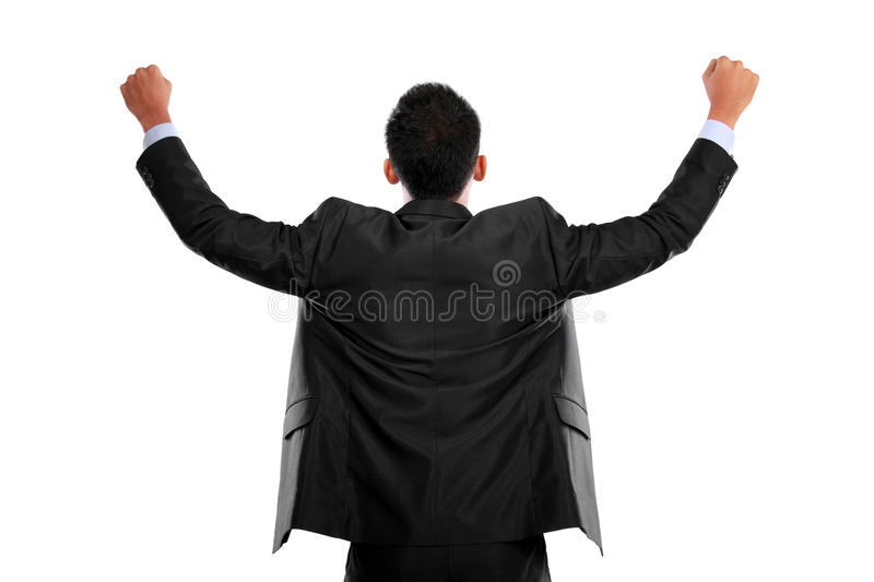 Business man with arms raised in success - Isolated on white royalty free stock photo