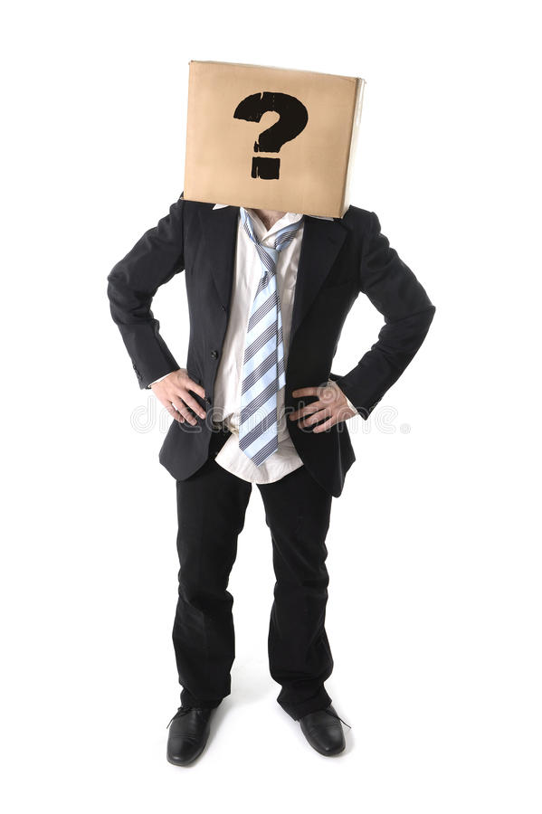 Business man asking for help with cardboard box on his head. Business man asking for help with carboard box on his head isolated on white background stock photo