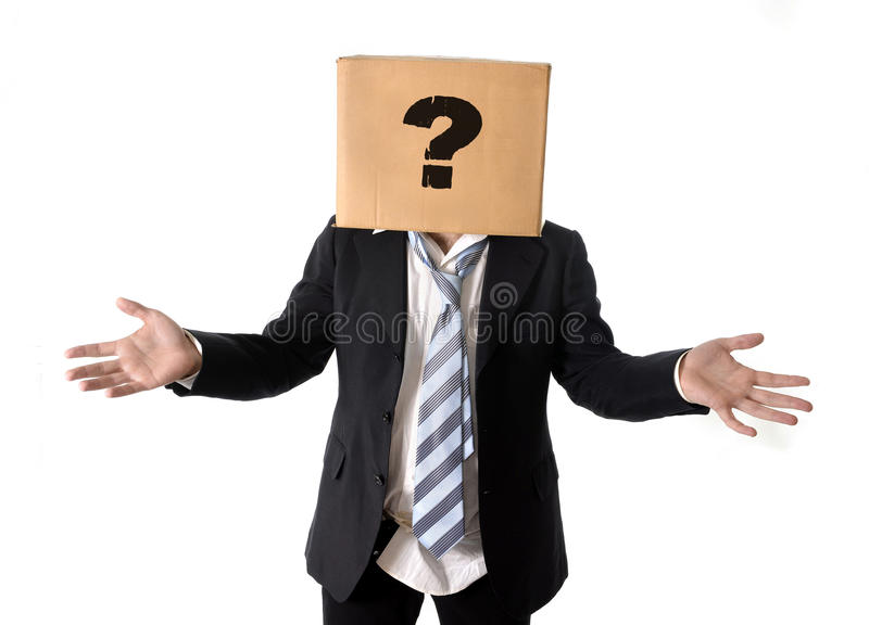 Business man asking for help with cardboard box on his head. Business man asking for help with carboard box on his head isolated on white background stock images