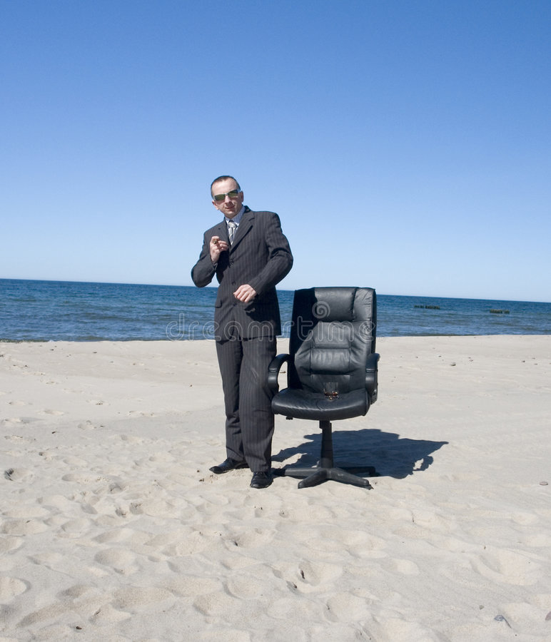 Business Man On Beach stock images