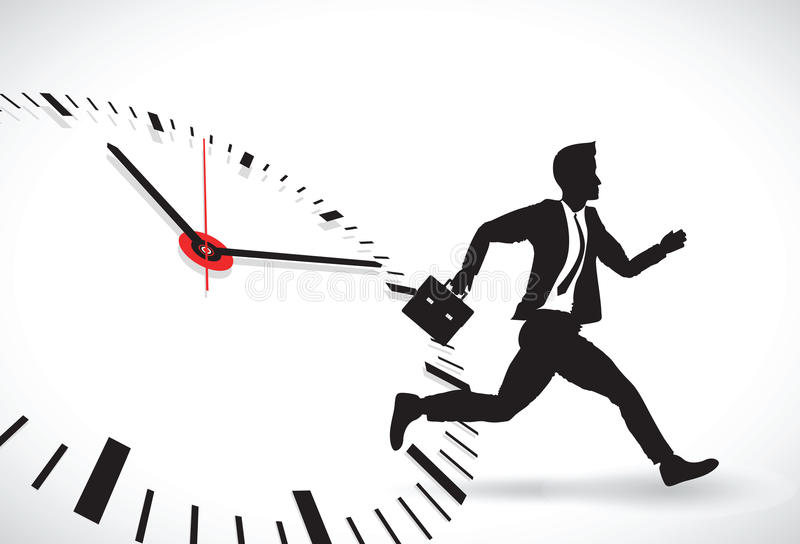 Business man beating the clock royalty free illustration