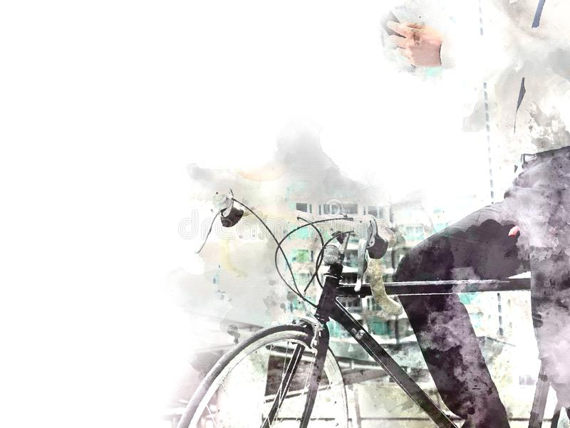 Business man and bicycle walking on street watercolor. vector illustration
