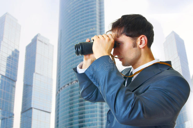 Download Business Man With Binoculars Stock Image - Image of outdoor, mature: 18537853