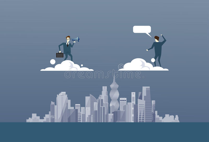 Business Man With Binoculars Looking At Businessman Partner On Cloud Future Successful Partner Concept vector illustration
