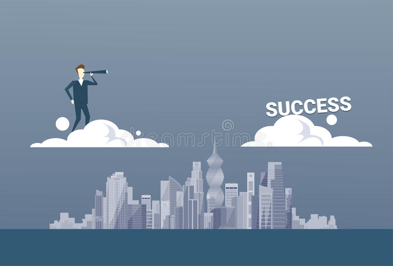Business Man With Binoculars Looking At Successful Future Career On Cloud Concept stock illustration