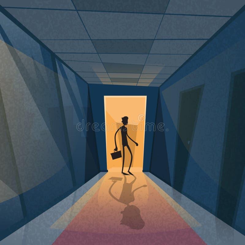 Business Man Black Silhouette Standing At Door Stock