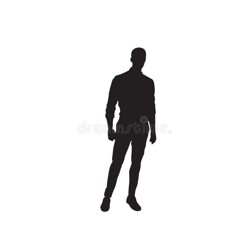 Business Man Black Silhouette Standing Full Length Over White Background vector illustration