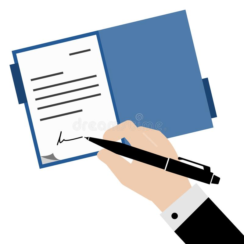 A business man in black suit signed the blue file document with luxury fountain pen, vector and illustrator royalty free illustration