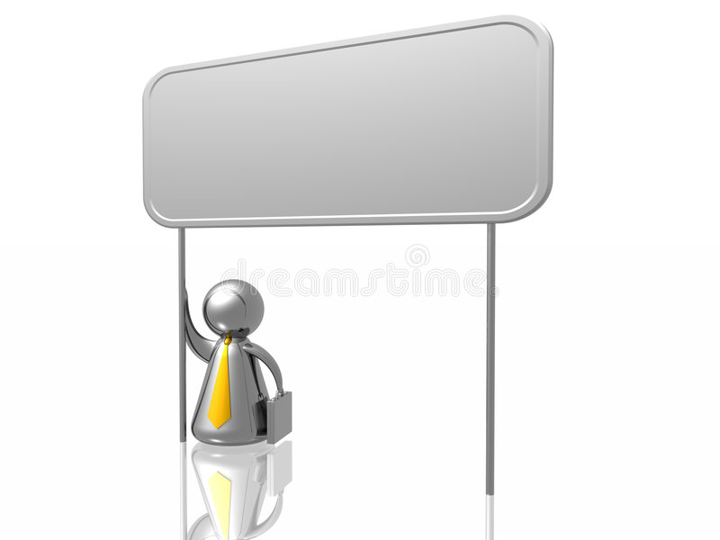 Business man and blank board. Isolated in white background stock illustration