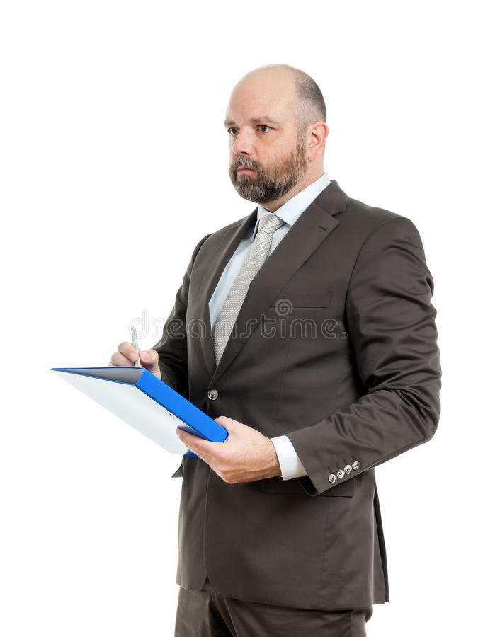 Business man with blue folder stock images