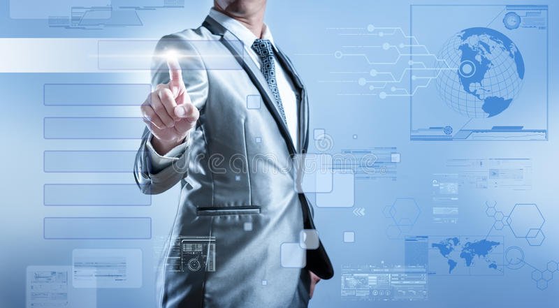 Business man in blue grey suit pressing on button screen vector illustration