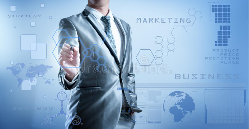 Business man in blue grey suit using digital pen working with di. Business man in blue grey suit pressing on button of digital virtual screen business concept of