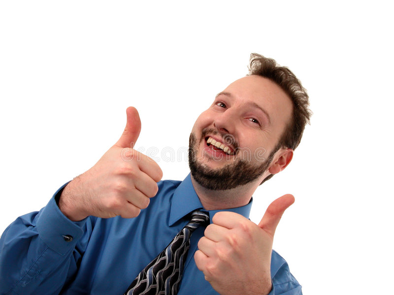 Business Man in Blue (Thumbs Up). Proud man in blue gives two thumbs up. Isolated on white stock photo