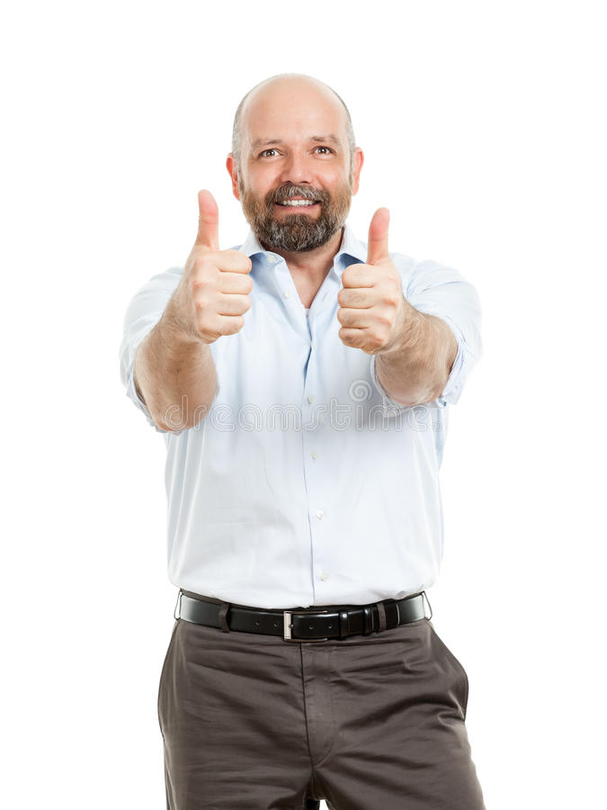 Business man with both thumbs up. An image of a handsome business man with both thumbs up stock photography