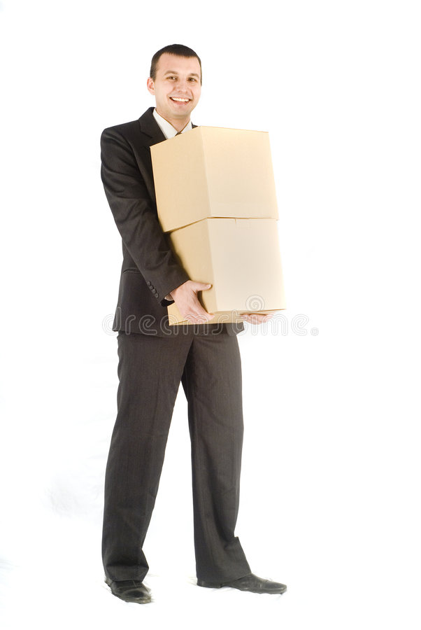 Download Business man with box stock image. Image of container - 4016879