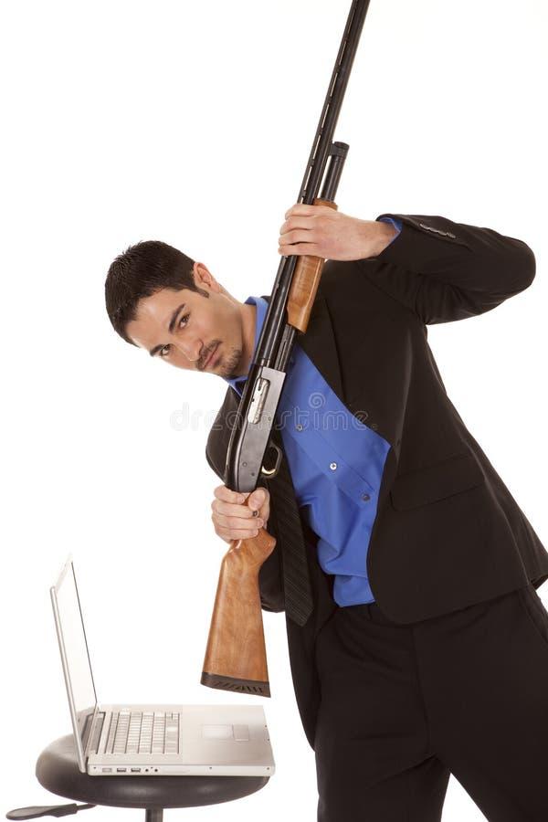 Download Business Man Break Computer Gun Royalty Free Stock Image - Image: 19176896