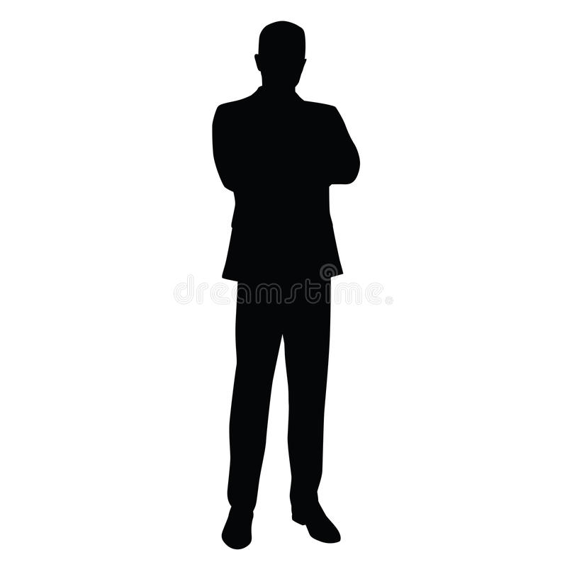 Business man in a business suit stands. With his arms crossed, front view. teacher, lawyer, civil servant, businessman, entrepreneur, boss, manager. Isolated vector illustration