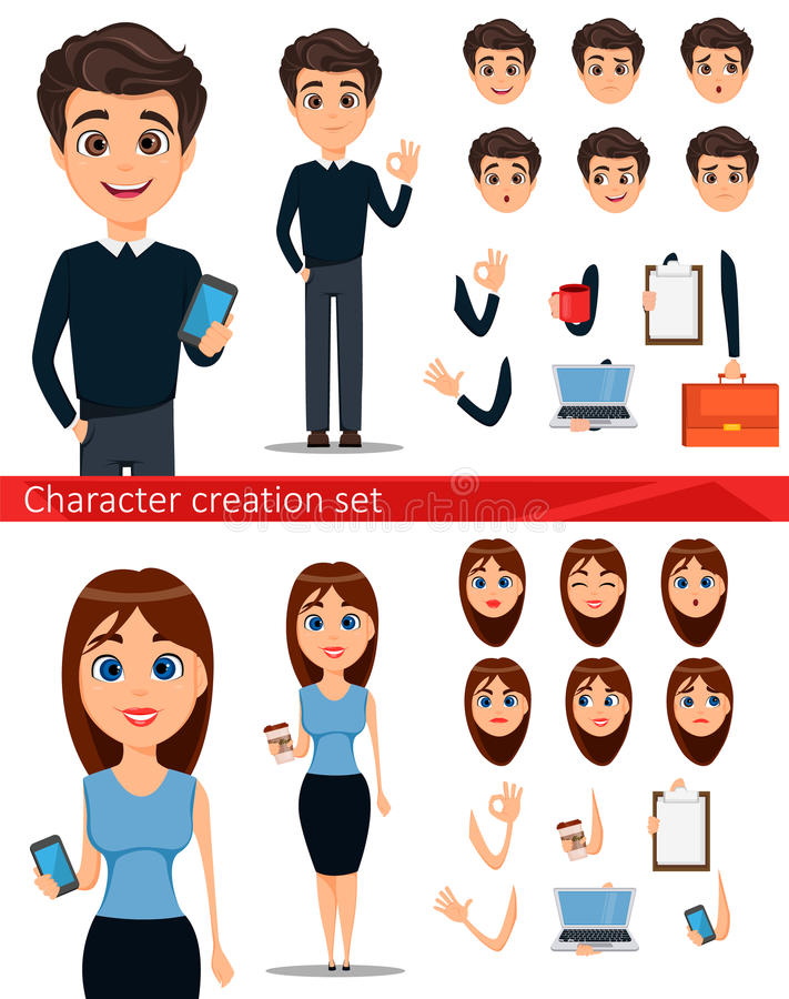 Business man and business woman cartoon characters creation set. stock illustration