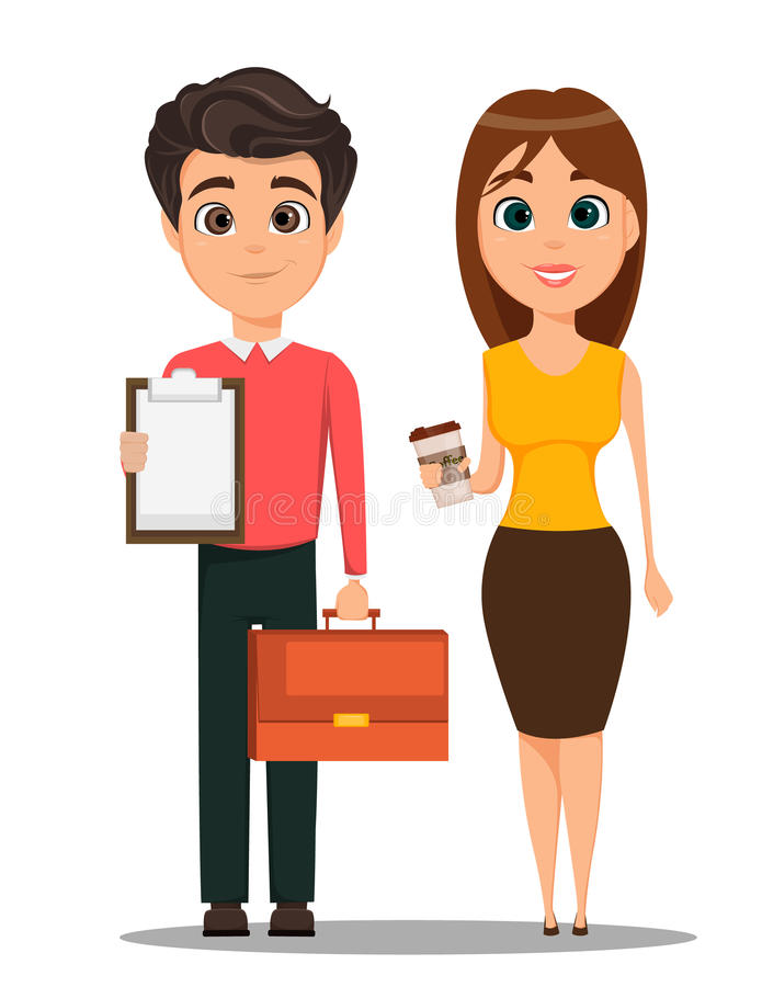 Business man and business woman cartoon characters. Young smiling people in smart casual clothes. Man holding document case in one hand and clipboard in stock illustration