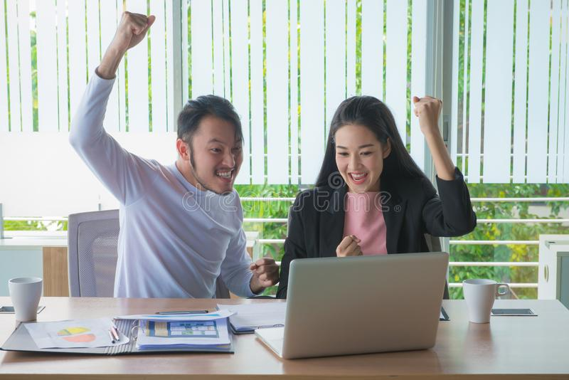 Business man and business woman working the job to success in of royalty free stock photos