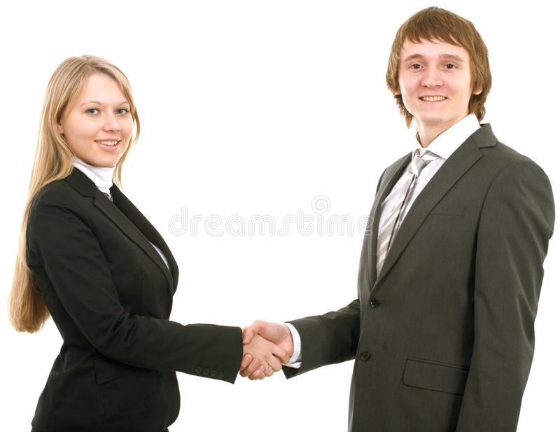 Business man and businesswoman handshake royalty free stock image