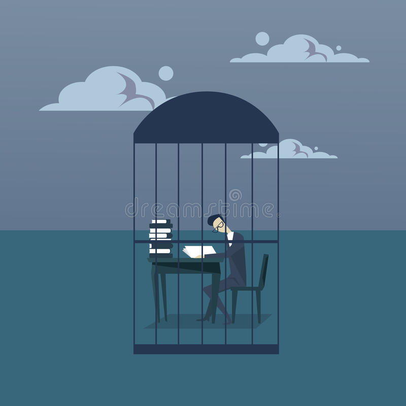 Business Man Busy With Paperwork In Cage Study Heap Of Documents Overworked Tired Businessman Sitting At Office Desk. Working Flat Vector Illustration stock illustration